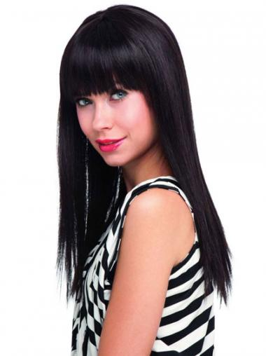 Black Wigs Human Hair With Bangs Long Length Blonde Color