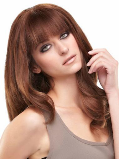 Auburn Long Beautiful Straight With Bangs Lace Wigs