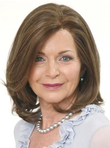 Brown Layered Lace Front Shoulder Petite Monofilament Wigs For Women