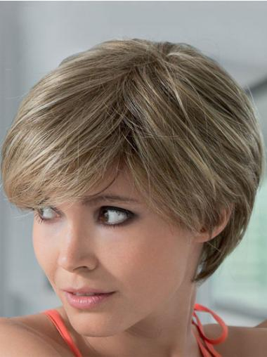 Mono Human Hair Wigs With Lace Front Short Length Boycuts