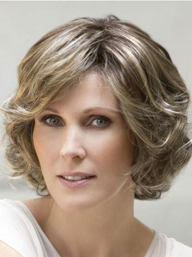 Blonde Wavy Chin Length With Bangs Ladies Monofilament Ellen Wille Wigs
