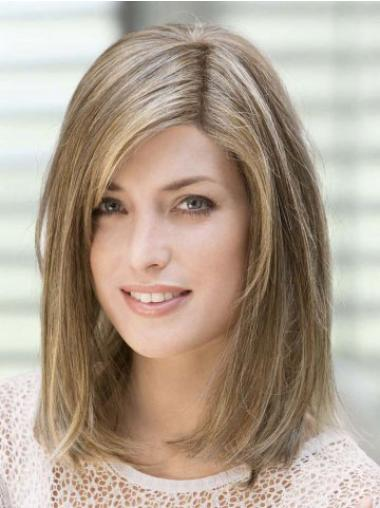 """Amazing 14"""" Brown Shoulder Length With Bangs Straight Lace Wigs"""
