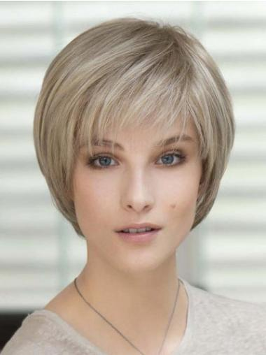 Blonde Short Straight With Bangs Monofilament Wigs
