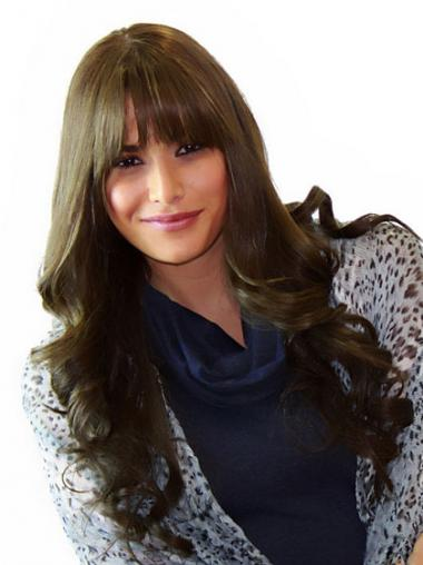 With Bangs Natural Wavy Brown Long Human Hair Lace Front Wigs