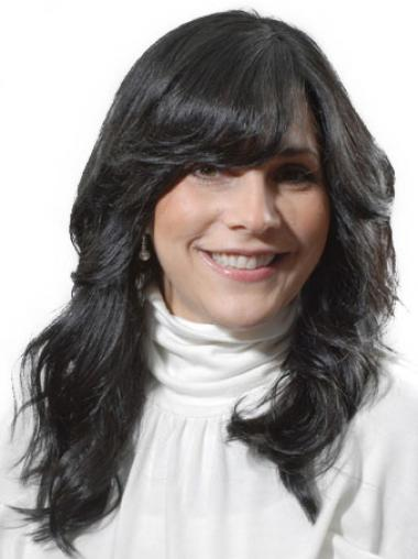 With Bangs Popular Wavy Black Long Human Hair Lace Front Wigs
