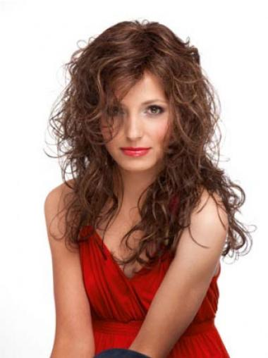 Curly Monofilament Wigs 100% Hand Tied Long Length Layered Cut