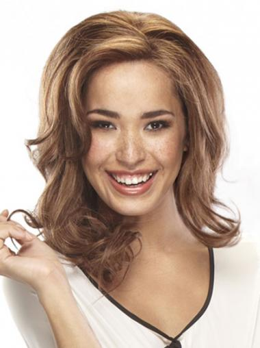"""Affordable 14"""" Auburn Shoulder Length Layered Wavy Lace Wigs"""