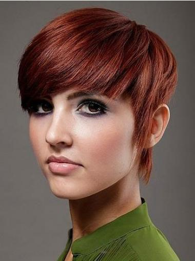 Boycuts Top Straight Red Short Human Hair Wigs