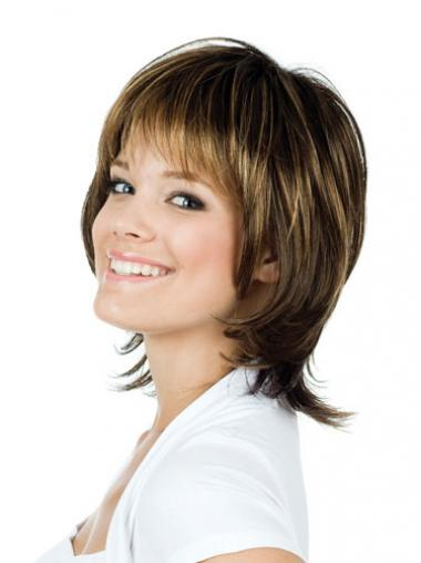 """Natural 12"""" Brown Chin Length With Bangs Straight Lace Wigs"""