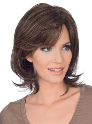 "Popular 10"" Brown Chin Length Layered Straight Lace Wigs"