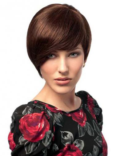 Bobs Hairstyles Straight Auburn Short Human Hair Wigs