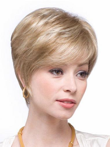 Blonde Human Hair Wigs Blonde Color Straight Style Layered