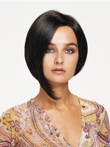 Lace Front Chin Length Straight Black Affordable Bob Wigs