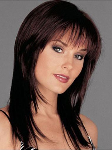 Human Hair Monofilament Wig Long Length Auburn Color With Bangs