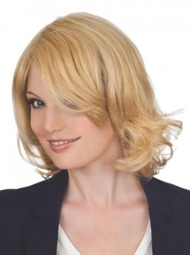 "Fashion 12"" Blonde Chin Length Layered Wavy Lace Wigs"