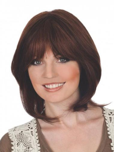 "Suitable 12"" Auburn Chin Length With Bangs Straight Lace Wigs"