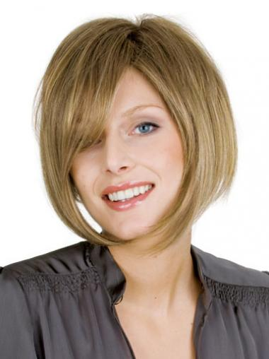 "100% Hand-tied Straight Bobs Chin Length 10"" New Human Hair Wigs"