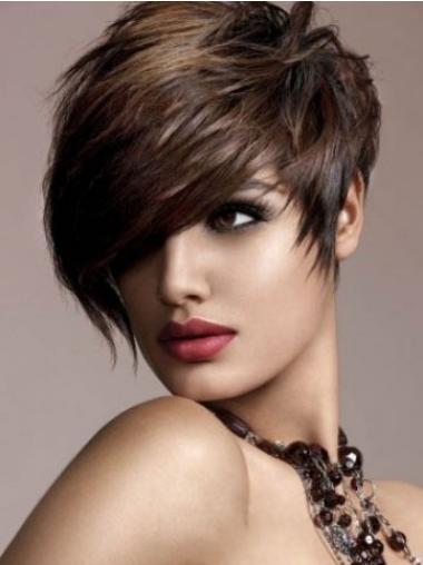Human Hair Brown Wig Straight Style Short Length Boycuts