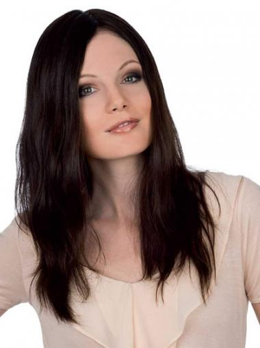 """Cheapest 18"""" Auburn Long Without Bangs Straight Lace Wigs"""