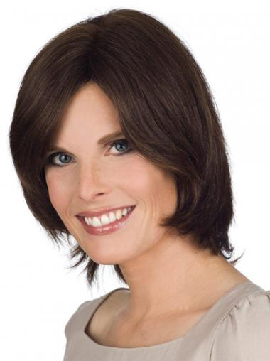 Lace Front Chin Length Straight Brown Natural Bob Wigs