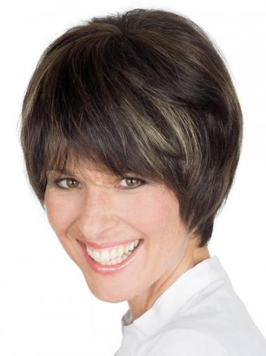 "Style 8"" Brown Short Boycuts Straight Lace Wigs"