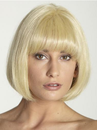 Bobs Straight Blonde 100% Hand-tied Great Short Wigs