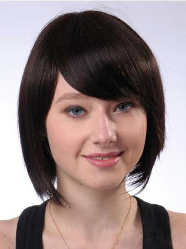 Bobs Best Straight Brown Chin Length Human Hair Wigs