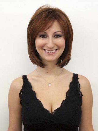 Human Hair Wigs Auburn Color Layered Cut Chin Length
