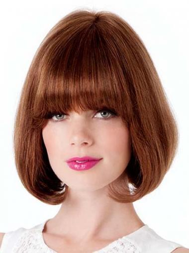 Lace Front Chin Length Straight Auburn Suitable Bob Wigs