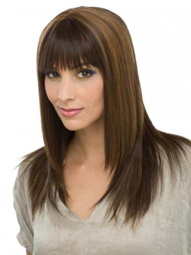 With Bangs Modern Straight Brown Long Human Hair Wigs
