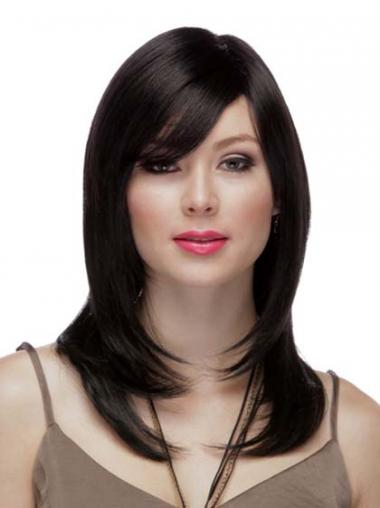 "Straight Layered 100% Hand-tied High Quality 16"" Black Long Wigs"