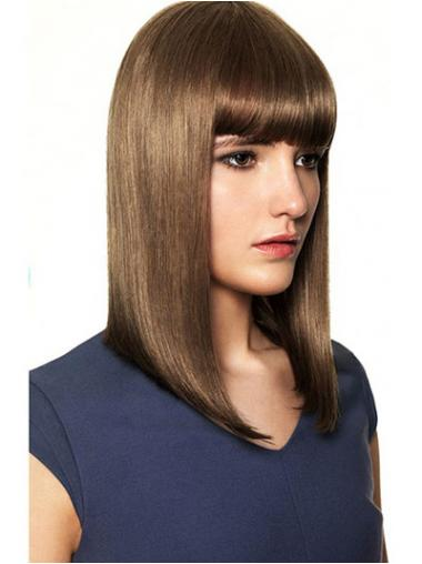 With Bangs High Quality Straight Brown Shoulder Length Human Hair Wigs
