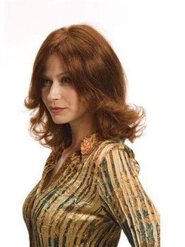 Layered Auburn Shoulder Remy Human Wavy Monofilament Wigs For Women