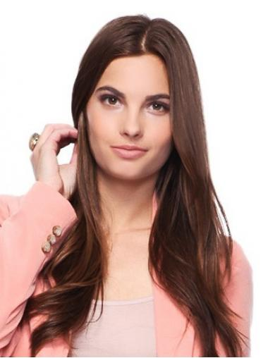 Auburn Long Straight Without Bangs 100% Hand-tied Wig Sale