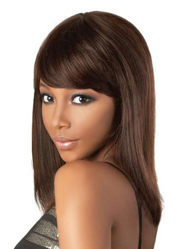 "Perfect 18"" Brown Shoulder Length With Bangs Straight Lace Wigs"