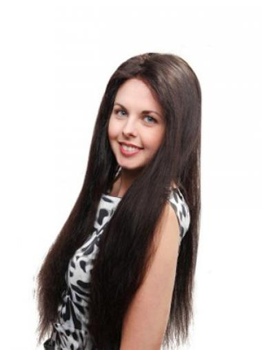 "Straight Without Bangs 100% Hand-tied Sleek 26"" Black Long Wigs"