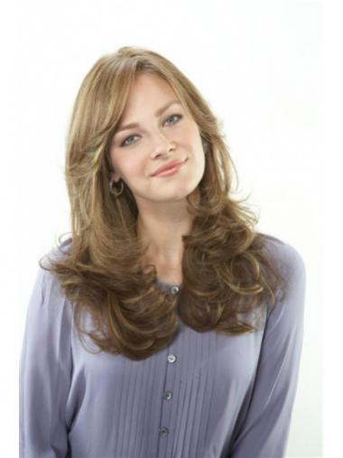 "Exquisite 20"" Brown Long With Bangs Wavy Lace Wigs"