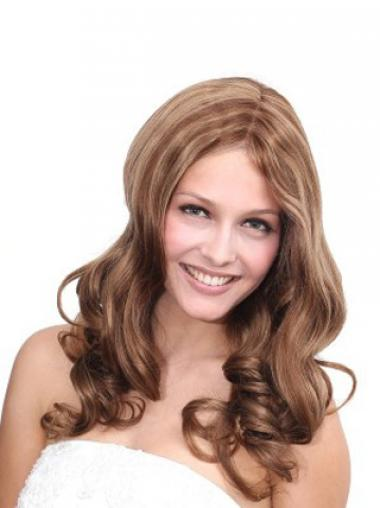No-Fuss Brown Wavy Without Bangs 100% Hand-tied Long Wigs