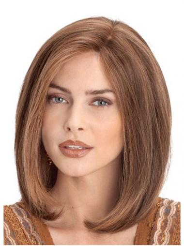 "Great 12"" Auburn Shoulder Length Without Bangs Straight Lace Wigs"