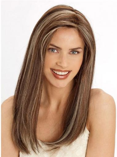 "Durable 22"" Brown Long Without Bangs Straight Lace Wigs"