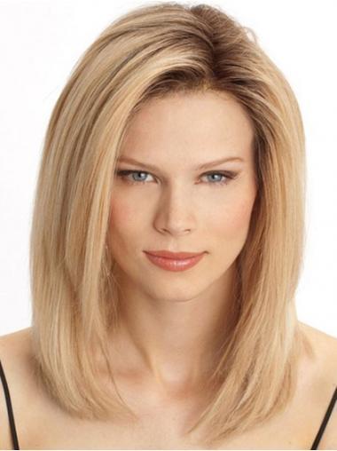 Cheap Monofilament Human Hair Wigs Sale Blonde Color Shoulder Length