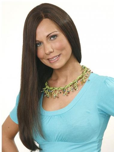 "Without Bangs Long Brown Straight 24"" Designed Human Hair Wigs"