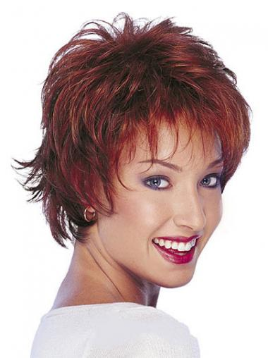 Human Hair Natural Wavy Wigs With Capless Short Length Red Color