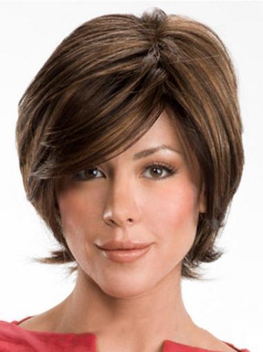 Dark Brown Layerd Cut Ladies Human Hair Wigs With Capless Wavy Style