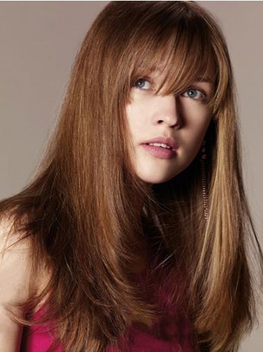 Human Hair Wig With Bangs Long Length Straight Style Auburn Color