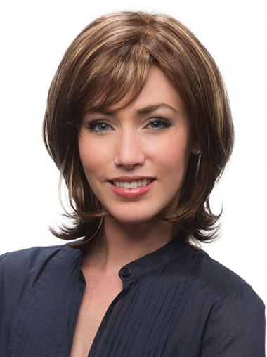 Human Hair Wigs Browns With Capless Chin Length Layered Cut