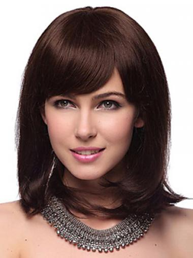Auburn Human Hair Wig With Bangs Capless Shoulder Length Auburn Color