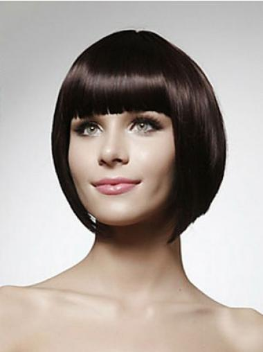 Cheap Human Bob Wigs Chin Length Bobs Cut Black Color Straight Style