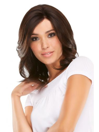 Mono Wigs Human Hair Shoulder Length Auburn Color Layered Cut