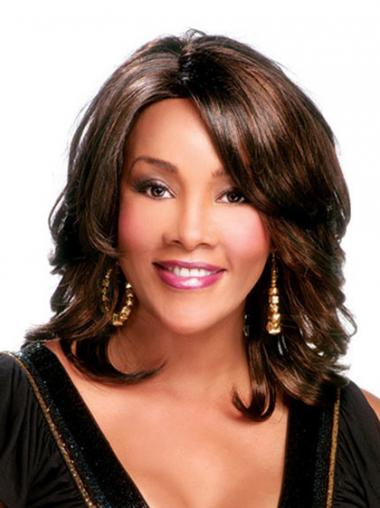 Curly Layered Shoulder Length Cheapest Brown Synthetic Wigs